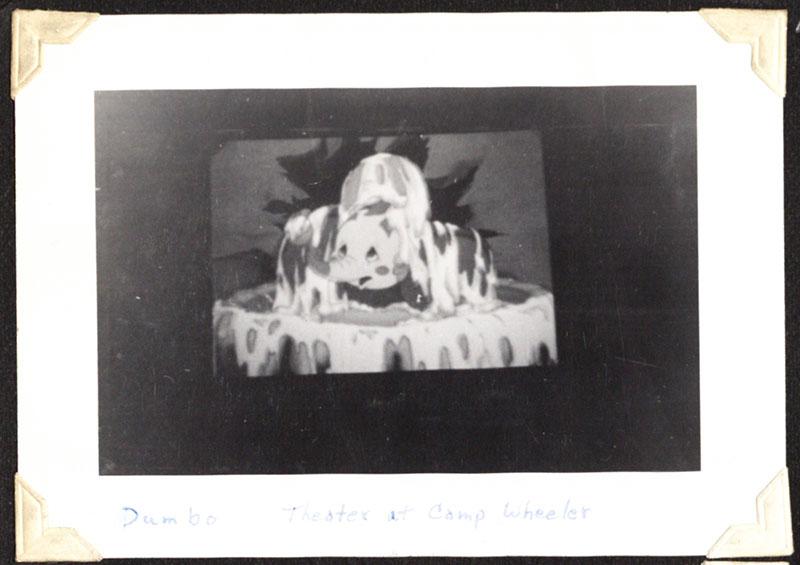 Photograph of theater screen at Camp Wheeler, Macon, Georgia, 1941